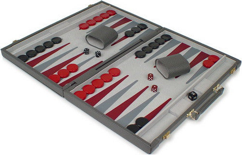 TCS Deluxe Gray Leatherette Backgammon Set - Medium