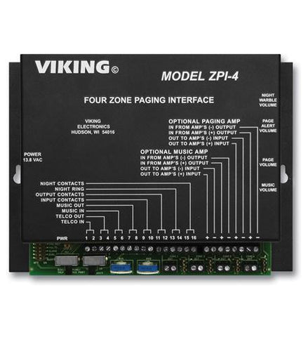 Viking Electronics VK-ZPI-4 Viking Multi-Zone Paging INterface - Peazz.com