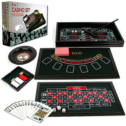 4 in 1 Casino Game Table Roulette, Craps, Poker, BlackJack - Peazz.com