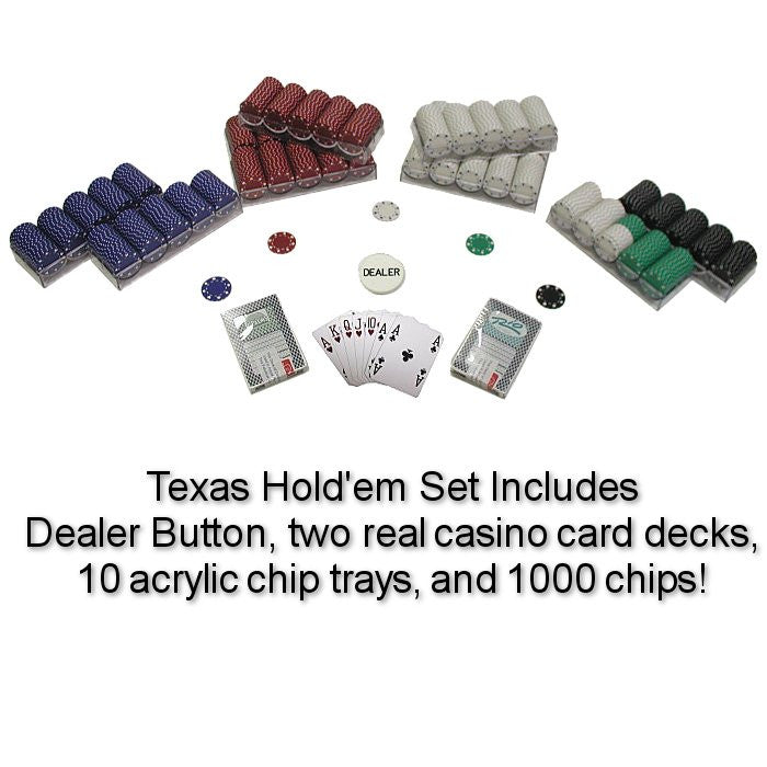 Trademark Commerce 10-1080-1k 1000 Suited 11.5 G Poker Chips Texas Hold Em Set