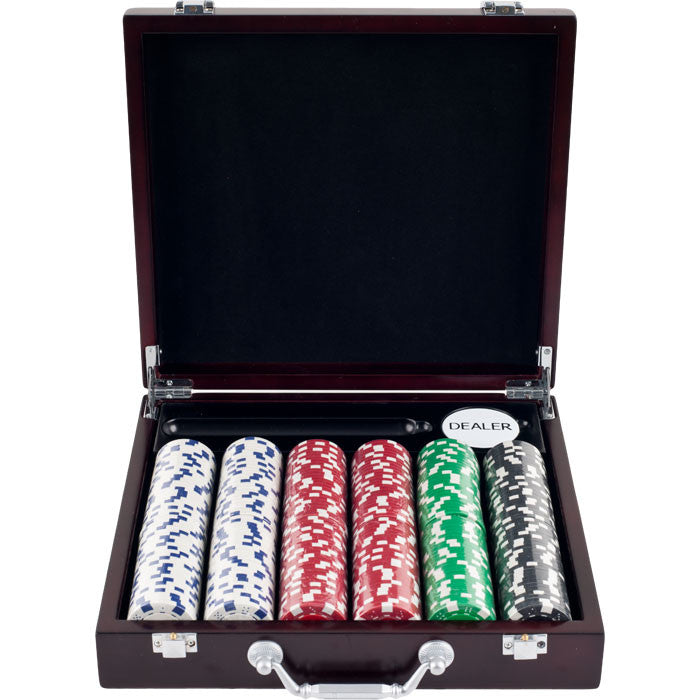 Trademark Commerce 10-1090-33701 300 11.5 Gram Striped Dice Chips In Cigar Tray Chip Case