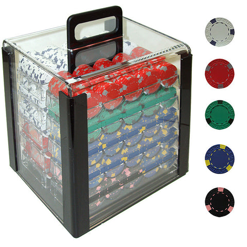 Trademark Commerce 10-1500-1car 1000 13 Gram Pro Clay Casino Poker Chips In Acrylic Carrier - Peazz.com