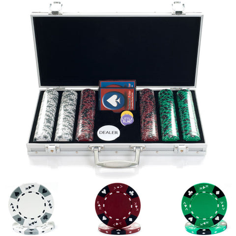10-1850-3001S 300 14G Tri Color Ace/King Suited Chips In Aluminum Case - Peazz.com