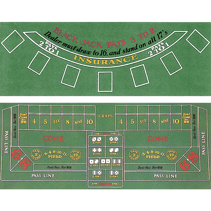 Trademark Commerce 10-30103020 Blackjack And Craps 2 Sided Layout 36 X 72 Inch TMC-10-30103020