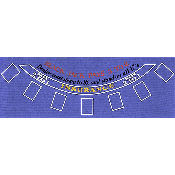 10-3010Blue Blackjack Layout 36 X 72 Inch Blue Felt TMC-10-3010BLUE