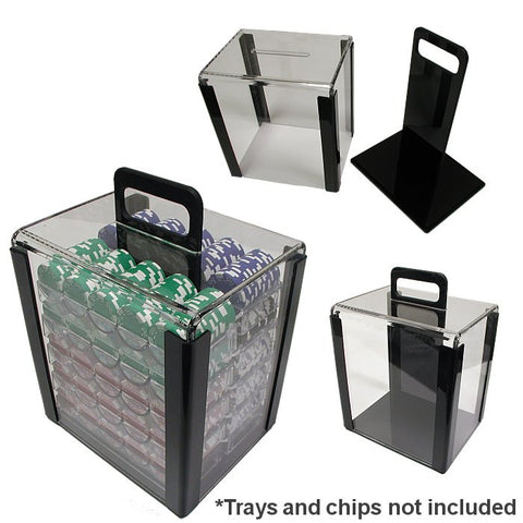 Trademark Commerce 10-CARRIER 1000 Chip Capacity Clear Acrylic Carrier - Peazz.com