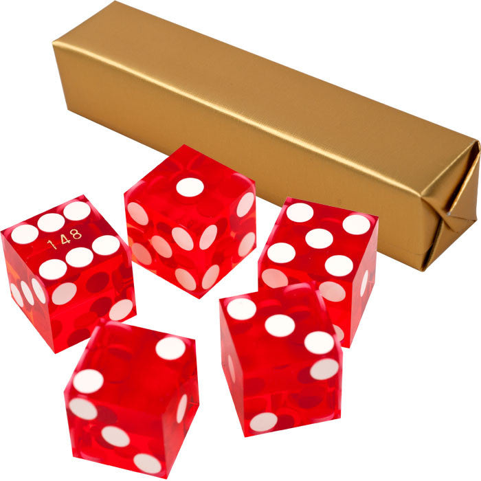 Trademark Commerce 10-DC19RED 19Mm A Grade Serialized Set Of Casino Dice-Red TMC-10-DC19RED