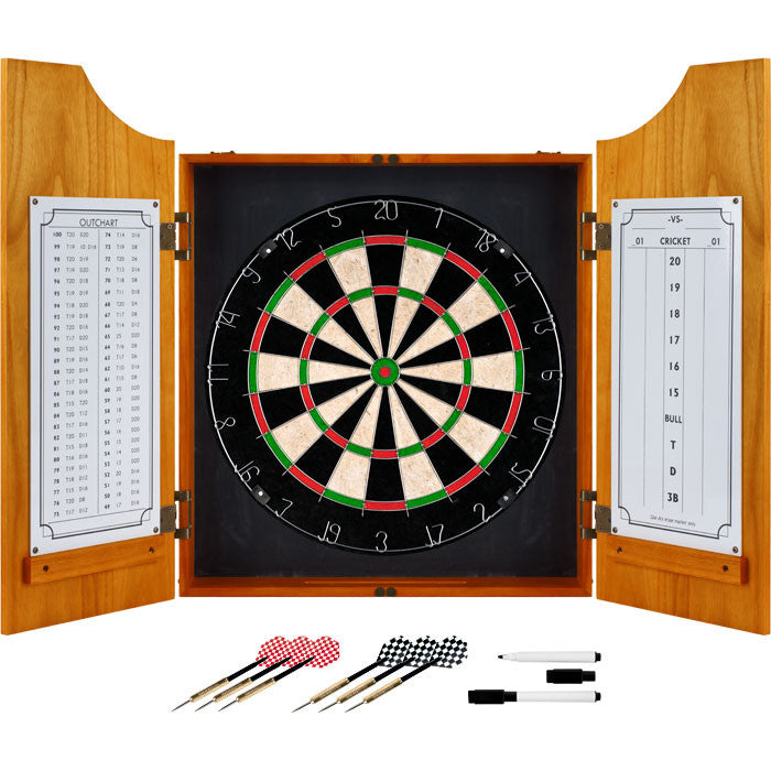 Trademark Games 15-9000Plain Tgt Solid Wood Dart Cabinet Set - Pro Style Board And Darts TMC-15-9000PLAIN