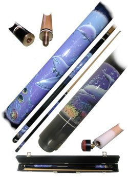 Trademark Commerce 40-582DO Dolphin Pool Cue Stick -  2pc with case - Peazz.com
