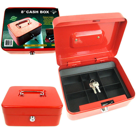 Trademark Tools 75-6580 Trademark Tools 8 Inch Key Lock Red Cash Box With Coin Tray - Peazz.com