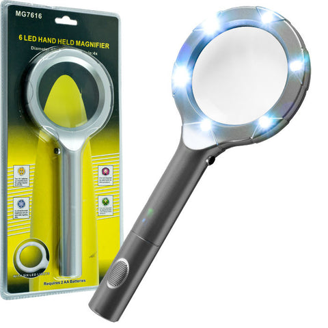 75-Mg7616 Super Bright 6 Led 4X Magnifying Glass - Peazz.com
