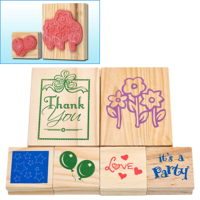 Trademark Games 80-04106 Trademark Games Wood Mounted Rubber Stamp Set - 6 Pc. TMC-80-04106