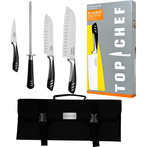 Trademark Commerce 80-TC03 Top ChefT 5 Piece Stainless Steel Knife Set - Portable - Peazz.com