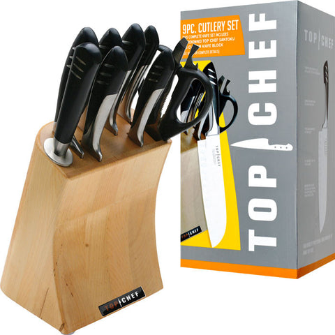 Trademark Commerce 80-TC04 Top Chef Full Stainless Steel Knife Set - 9 Pieces - Peazz.com
