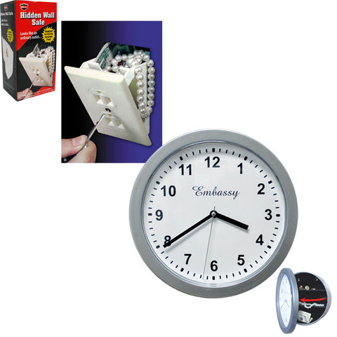82-558Set Hidden Wall Outlet Safe & Silver Wall Clock With Hidden Safe - Peazz.com