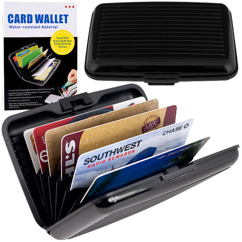 82-9216 Aluminum Credit Card Wallet - Rfid Blocking Case - Black - Peazz.com