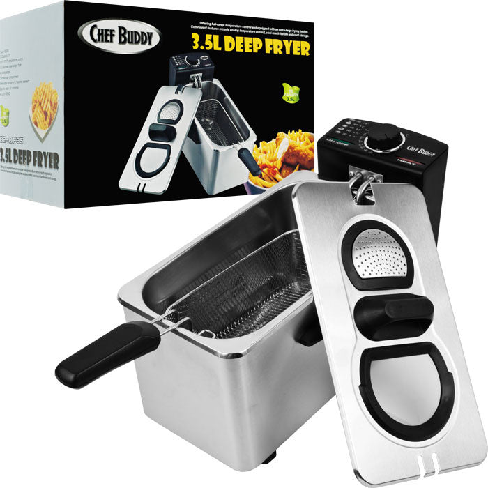 Chef Buddy 82-Df35 Chef Buddy Electric Deep Fryer Stainless Steel - 3.5 Liter TMC-82-DF35