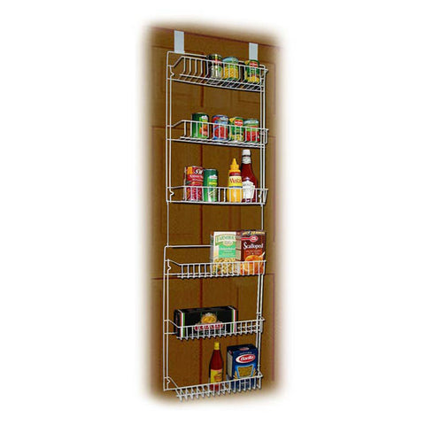 5 foot Vinyl Covered Steel Overdoor Storage Basket Rack - Peazz.com