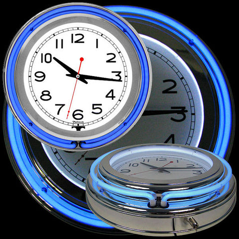14 Inch Double Ring Neon Clock Blue Outer White Inner - Peazz.com