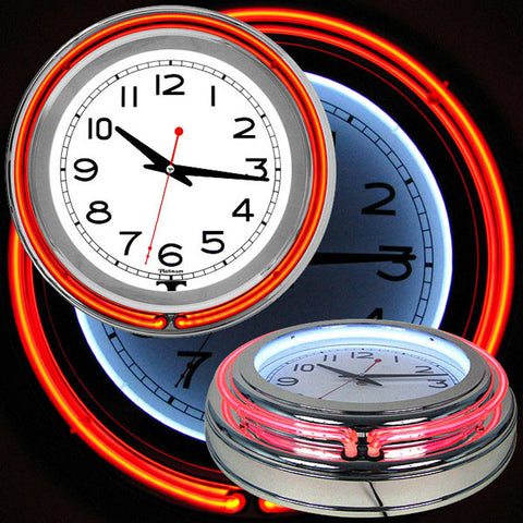 14 Inch Double Ring Neon Clock Red Orange Outer White Inner - Peazz.com