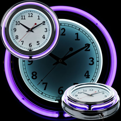 99-1099Pr 14 Inch Double Ring Neon Clock Purple Outer White Inner - Peazz.com