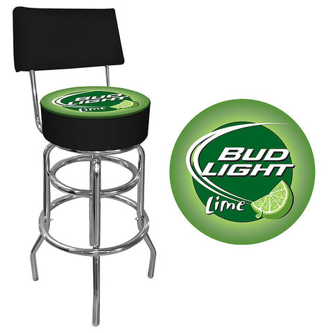 Trademark Commerce AB1100-BLLIME Bud Light Lime Padded Bar Stool with Back - Peazz.com