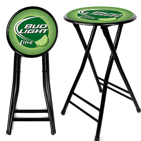 Trademark Commerce AB2400-BLLIME Bud Light Lime 24 Inch Cushioned Folding Stool - Black - Peazz.com