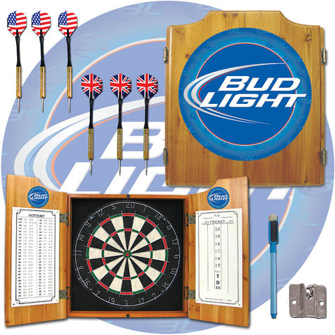 Trademark Commerce AB7000-BL Bud Light Dart Cabinet Includes Darts and Board - Peazz.com