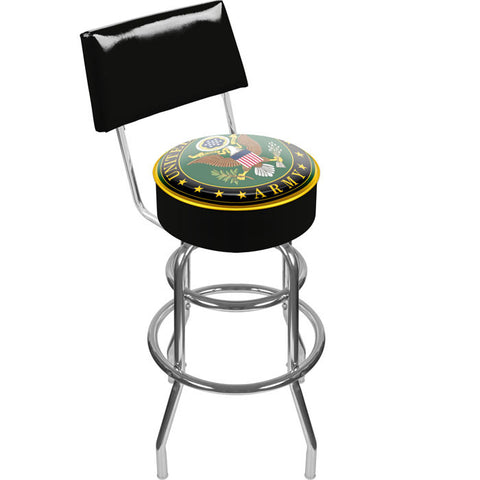 Army1100-Sym U.S. Army Symbol Padded Swivel Bar Stool With Back - Peazz.com