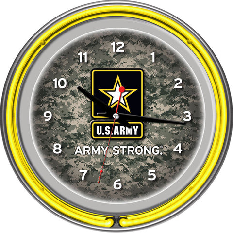 Army1400-Camo U.S. Army Digital Camo Chrome Double Ring Neon Clock - Peazz.com
