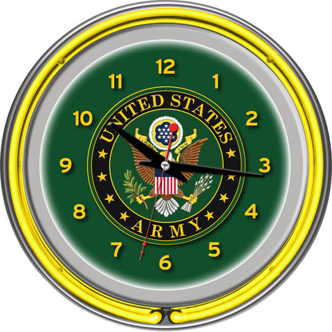 Army1400-Sym U.S. Army Symbol Chrome Double Ring Neon Clock - Peazz.com