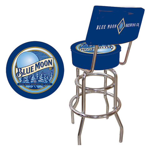 Trademark Commerce BM1100 Blue Moon Padded Bar Stool with Back - Peazz.com