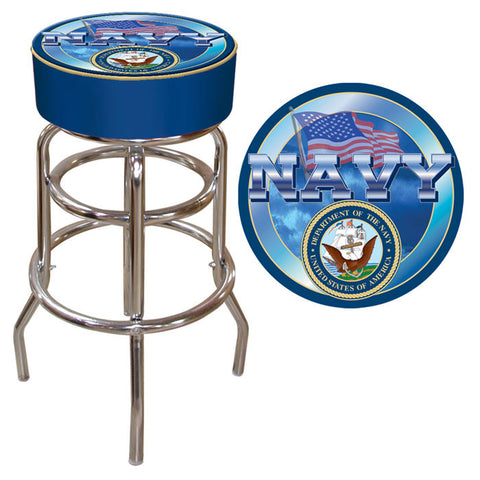 Trademark Commerce USN1000 US Navy Padded Bar Stool - Peazz.com