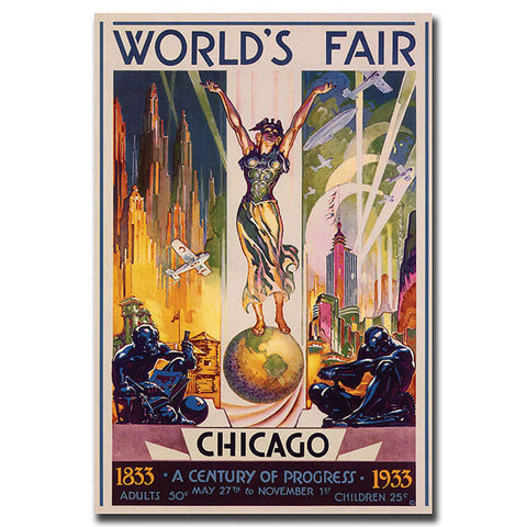 World's Fair Chicago by Glen Sheffer-Gallery Wrapped 35x47 - Peazz.com