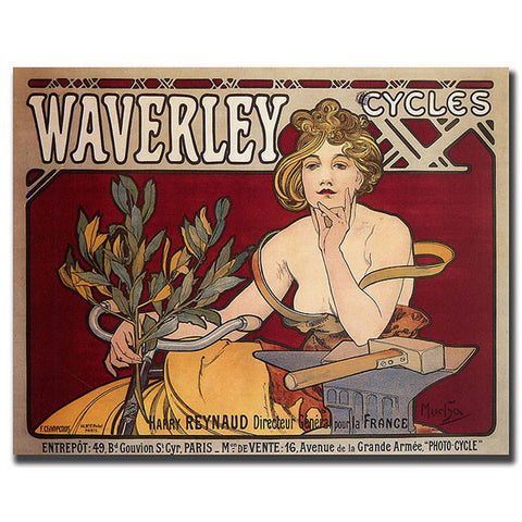 Waverly Cycles by Alphonse Mucha-Framed 35x47 Canvas Art - Peazz.com