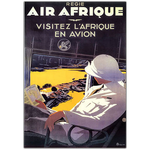 Air Afrique by A. Roquin-Framed 18x24 Canvas Art - Peazz.com