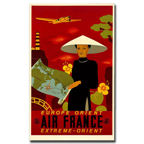 Air France Orient Express-Gallery Wrapped 18x24 Canvas Art - Peazz.com