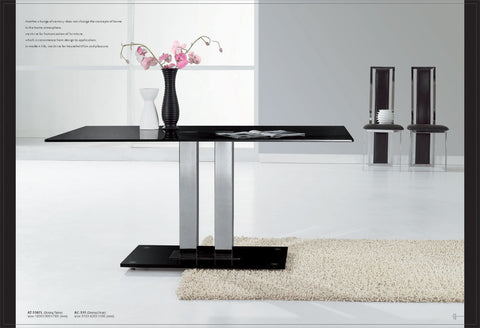 TransDeco AT-5507L Dinning Table - Black Tempered Glass Top, Stainless Steel Pedestal With Glossy Satin Finish, Black Glass Base Plate - Peazz.com