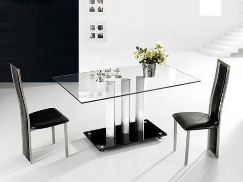 TransDeco AT-590C Glass Dinning Table - Clear Tempered Glass Top, Stainless Steel Pedestal With Glossy Satin Finish, Black Glass Base Plate - Peazz.com