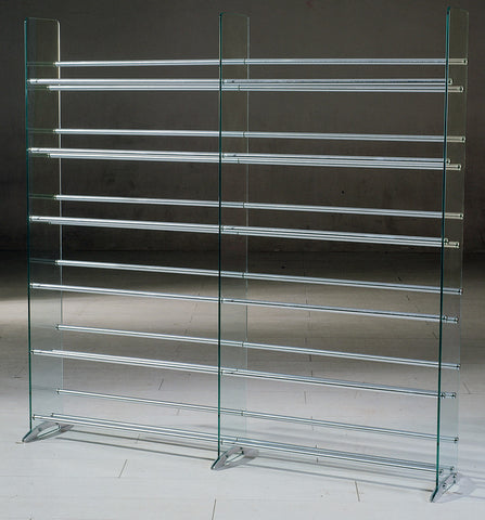 TransDeco TD020S Clear Glass CD/DVD Rack, 12 Shelves In Brushed Silver/Chrome Caps - Peazz.com