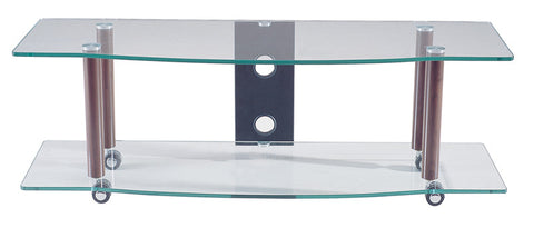 TransDeco TD108AW Clear Glass TV Stand W/ Synthetic Walnut Finish Poles - Peazz.com