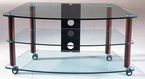 TransDeco TD117W Clear Glass TV Stand With Synthetic Walnut Finish Poles - Peazz.com