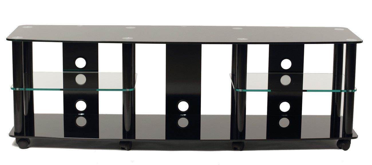 "TransDeco TD208B 65"" Gloss Black Tempered Glass TV Stand With High Gloss Black Finish Metal Poles"