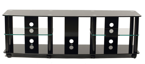 "TransDeco TD208B 65"" Gloss Black Tempered Glass TV Stand With High Gloss Black Finish Metal Poles - Peazz.com"
