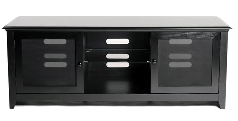 "TransDeco TD960B 62"" Birch Veneer Engineer Wood LCD TV Stand For Up To 65"" Plasma Or LCD/LED TVs - Black - Peazz.com"