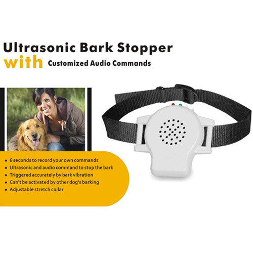 MK800 Ultrasonic Bark Stopper Collar w/ Customized Audio Commands