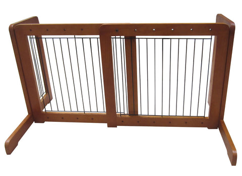 "Free Standing Pet Gate - 23.6""-39.4""L x 20.1""H x 21.6""D - Honey Oak (MK81721-HO) - Peazz.com"