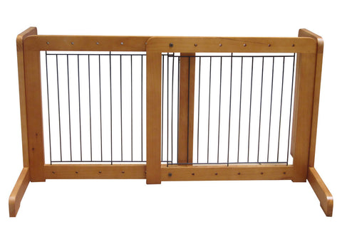 "Free Standing Pet Gate - 23.6""-39.4""L x 20.1""H x 21.6""D - Light Oak (MK81721-LO) - Peazz.com"