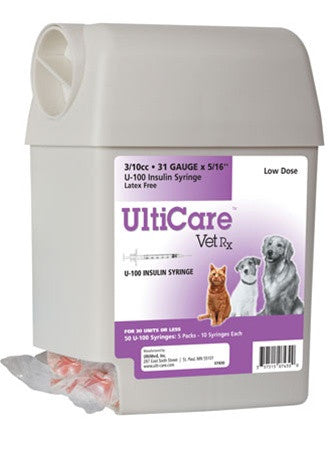 "UltiCare VetRx U-100 Insulin Syringe 3/10cc, 31g x 5/16"", UltiGuard Dispenser, Sharps Container, 50 Syringes - Peazz.com"