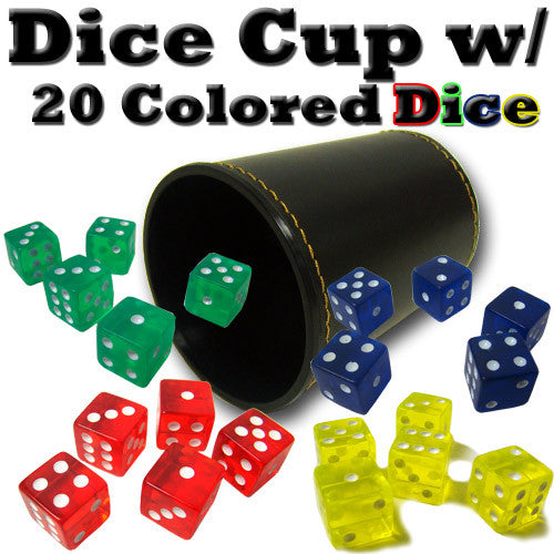 Brybelly ACC-0048 Synthetic Leather Dice Cup with 20 Colored Dice BRY-ACC-0048